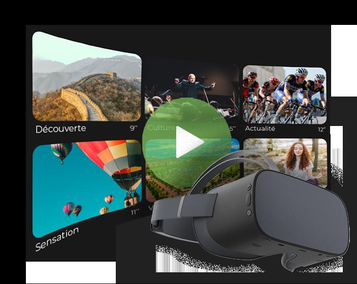 casque de réalité virtuelle par dessus une galerie de vidéos à 360°